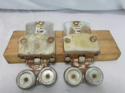 2 VINTAGE BARN DOOR ROLLERS OLD STEEL LB 35 ~ Starline Cannonball National Big 4