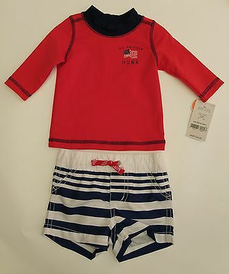 Carter's 3 Months ALL-AMERICAN HUNK Red White Blue Rash Guard & Shorts UPF 50+