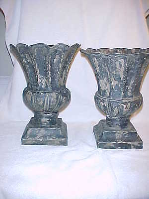 Magnificent Pair Antique French Fluted Tole Urns - Pre 1900