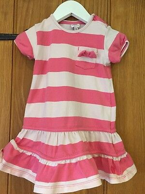 Baker Baby By Ted Baker Lovely Pink & White Dress Age 12-18 Months
