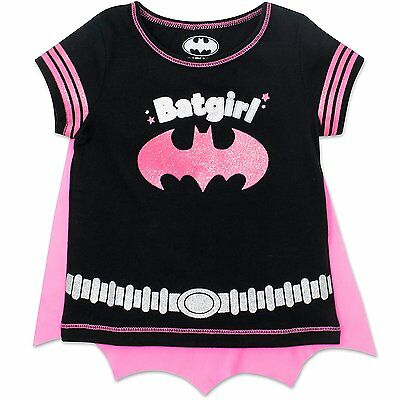 Batgirl Toddler Girls' T-shirt with Cape, Black