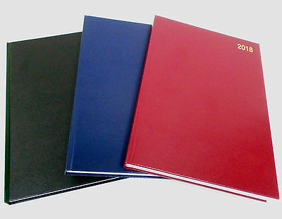 2018 A5 Diary Day to Page Inc Weekends Desk Diary Hard Backed Day Per Page