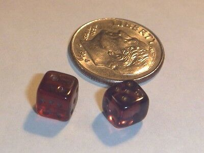 Vintage Pair Amber Miniature Tiny Glass Dice Estate Sale Find