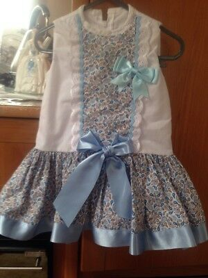 Romany Baby Girl Baby Blue Dress Size 9-12 Months Made By Fairytale