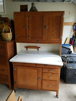 Oak Hoosier SELLERS Cabinet w Flour Bin, meat grinder, bread box, rolling pin