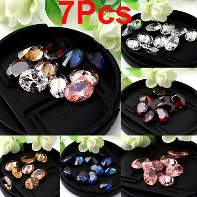 7Pcs Natural Zircon Oval Cut Gems Diamonds Shining Loose Charm Gemstones 10X14mm