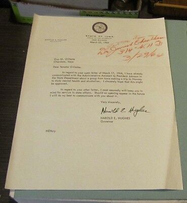 1964 Iowa Governor Harold E. Hughes Autograph Signed Letter Norway Trip Details
