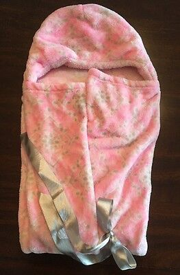 BLANKETS & BEYOND Pink Plush Hooded Blanket With Silver Sash