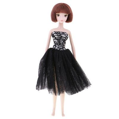 Handmade Black Short Wedding Dress Party Gown Clothes Outfit For Barbie Doll