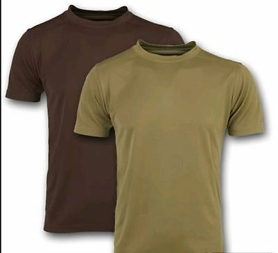 British Army Issue Coolmax T Shirt Olive Green Brown Wicking Heat Hot Weather