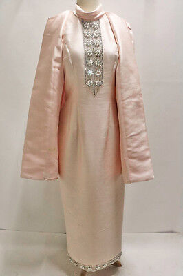 1960's Vintage Jacki O Style Pink Evening Gown Dress & Coat Seymour Paisin