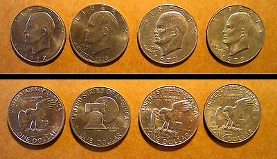 Lot of 4 Eisenhower Dollar coins Years: 1972, 1976, 1977 & 1978