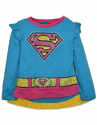 Supergirl Long Sleeve Tee with Cape - Blue