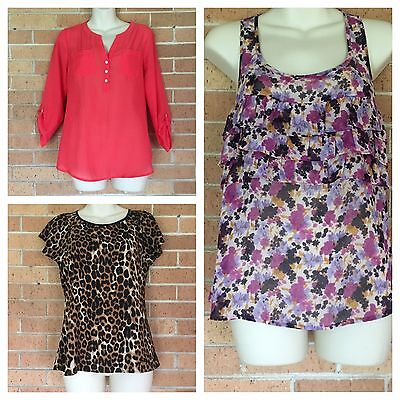 EXPRESS Size XS Lot of 3 Print Tops Career Professional Animal Leopard Floral -C