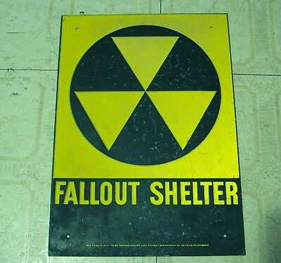 """VINTAGE 1960s FALLOUt SHELTER SIGN. GALV.STEEL 10""""x14"""" SIGNS OF AGE Bent Corners"""