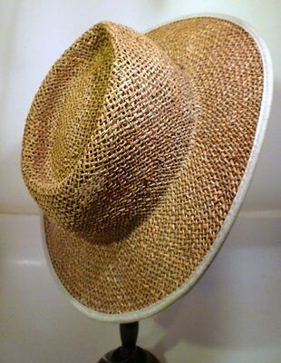 COLUMBIA Unisex Sz S/M Seagrass Straw Beach Hat Womens Mens Lined Wide Brim