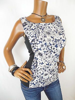 LAUNDRY Womens Top M Floral Shirt Casual Blouse Stretch Blue White Black