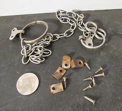 Original chain hanging & mounting clips hardware from an antique mirror