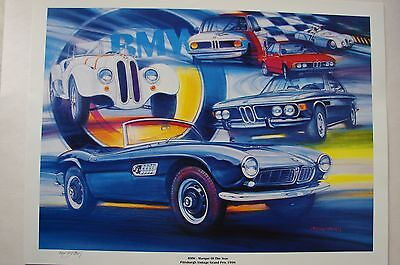 "1998 BMW Pittsburgh Vintage Grand Prix Signed Poster 24"" x 18"""