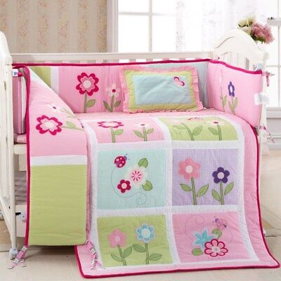 Flowers Crib Baby Bedding 4 Pc Set Quilt + Bumper + Fitted Sheet + Pillow Cover