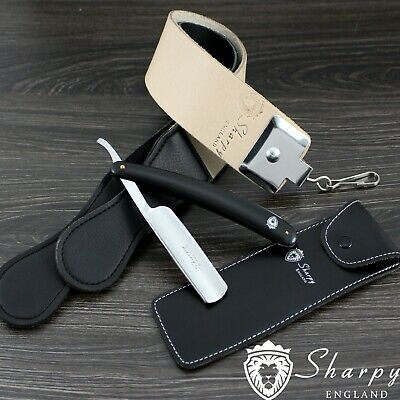 3 Pieces Men's Shaving Kit With Cut Throat Razor,Sharping Strop & Pouch for Him.