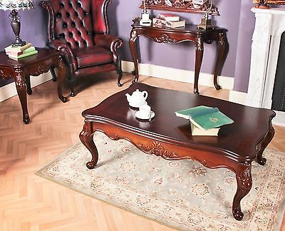 Mahogany Coffee Table Living Room Oval Inlaid Antique Style Edwardian French