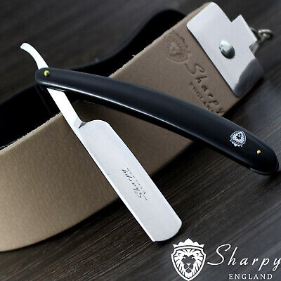 Men's Shaving Kit With Leather Strop,Black Handle Straight razor & Pouch For HIM