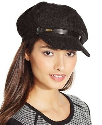 $30 New NINE WEST Wool Newsboy Cap with Logo  Women's Hat Brown NWT