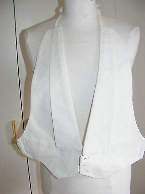 Vintage 1940s white marcella honeycomb front vest waistcoat AKCO evening wear 36