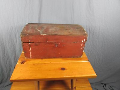 Trunk Dome Top Small Antique Great Red Paint Cut Nails For Decor or Use