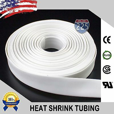 """100 FT. 100' Feet WHITE 3/16"""" 5mm Polyolefin 2:1 Heat Shrink Tubing Tube Cable"""