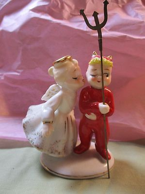 Fantastic Vintage 1950's Lefton  Angel Kissing Devil W Pitchfork Figurine Kw1055
