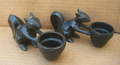 Two -2- Squirrel Metal Squirrel Tea Light Candle Holders