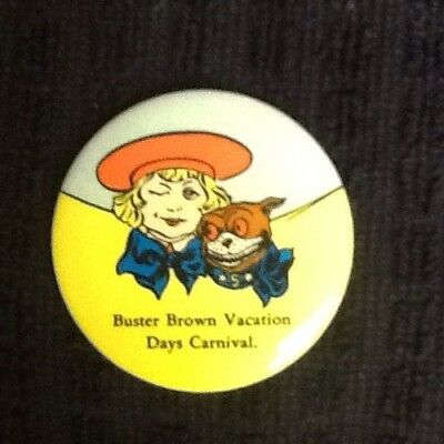 "BUSTER BROWN  & TIGE Celluloid Ad 2"" Button - WOW!"