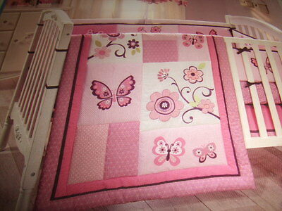 New Baby Girl's Little Bedding By Nojo Secure Me Bumper Set, Butterfly Blossoms