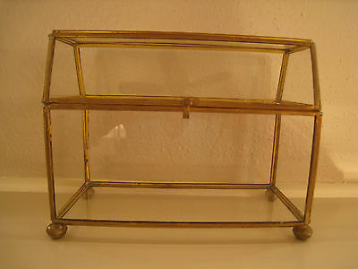 Vintage Glass and Brass Chest Shaped Trinket Display Box Terrarium 5 3/8 T x 7 W