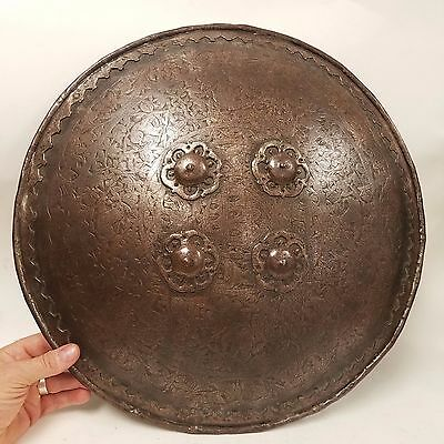 Early Antique Indo-Persian Mughal Iron Shield with Elephants Tigers