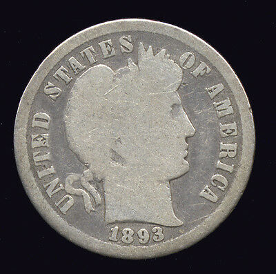 1893-S  ... Better Date  ...  Barber Dime Silver (137-208)