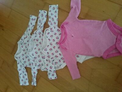 0-3 months baby girls long sleeve vest bundle x4 Tu.