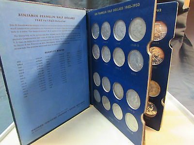 1948-1963 Franklin Half Dollar Complete Collection w Folder 35 Coins 90% Silver