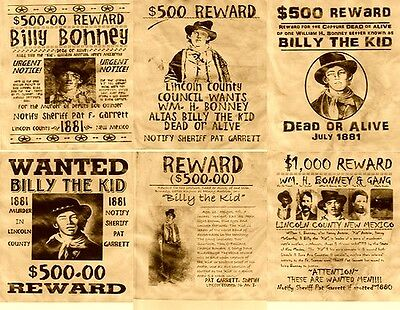6 Old West Wanted Posters Outlaw Billy The Kid Garrett Old West Western Bank