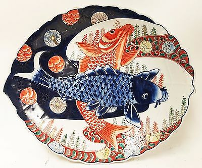 Antique Chinese Export Porcelain 19th Early 20th c. Leaf Shaped Dish - Koi Fish
