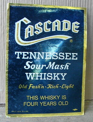 CASCADE Tennessee Sour Mash Whisky 4/5 th. Qt. Back LABEL  Geo. Dickel