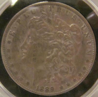 """(245) 1889 MORGAN SILVER $ 1 DOLLAR ~ COUNTERSTAMPED """"N.S.& Co"""" Lot 90"""