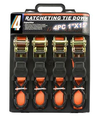 4X HEAVY DUTY RATCHET TIE DOWN CARGO STRAPS 4.6 Metre/1 Inch-25MM ORANGE CHN