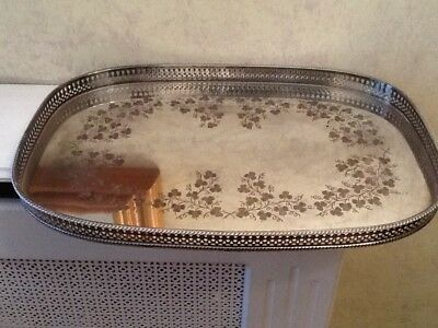 Large Vintage Silver Plated Decorative Tray