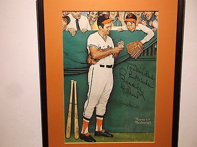 Rare Norman Rockwell Gee Thanks Brooks Robinson Double Signed Print