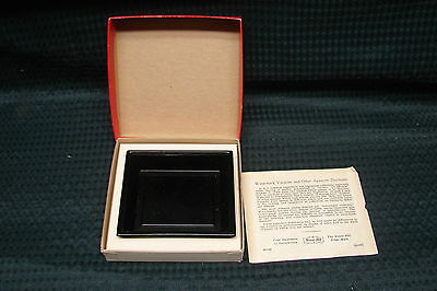 """OPC Vintage Black Glass Watermark Detector Tray 3 1/2 x 3"""" with box"""