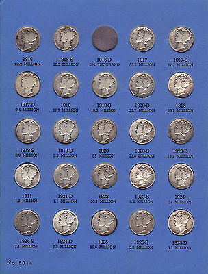 Mercury Dime Collection 1916 - 1945 Includes The 1921 & 1921D