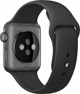 Apple - Sport Band for Apple Watch™ 38mm - Black with Space Gray Pin MJ4F2ZM/A